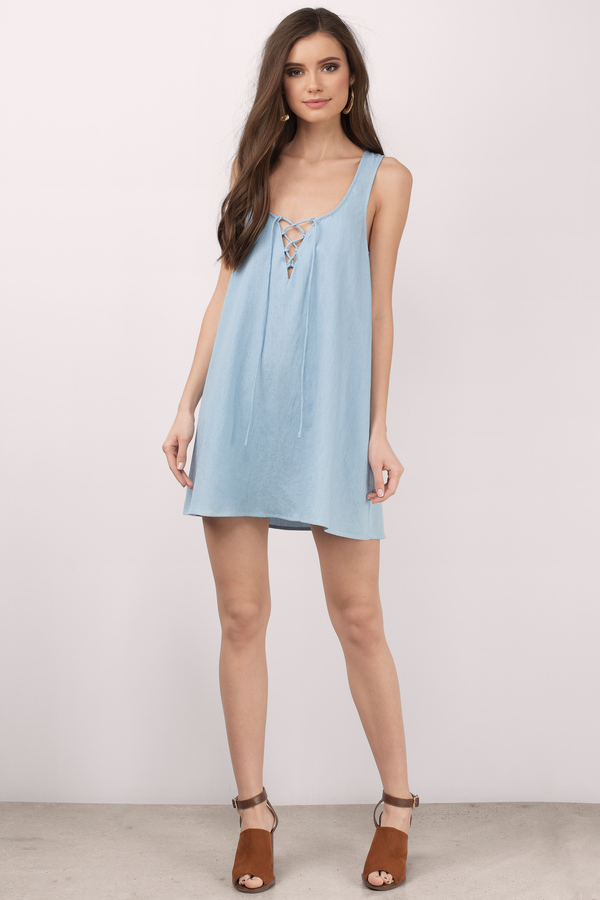 694f0a68c48b Cute Blue Dress - Lace Up Dress - Denim Chambray Dress - Shift Dress ...