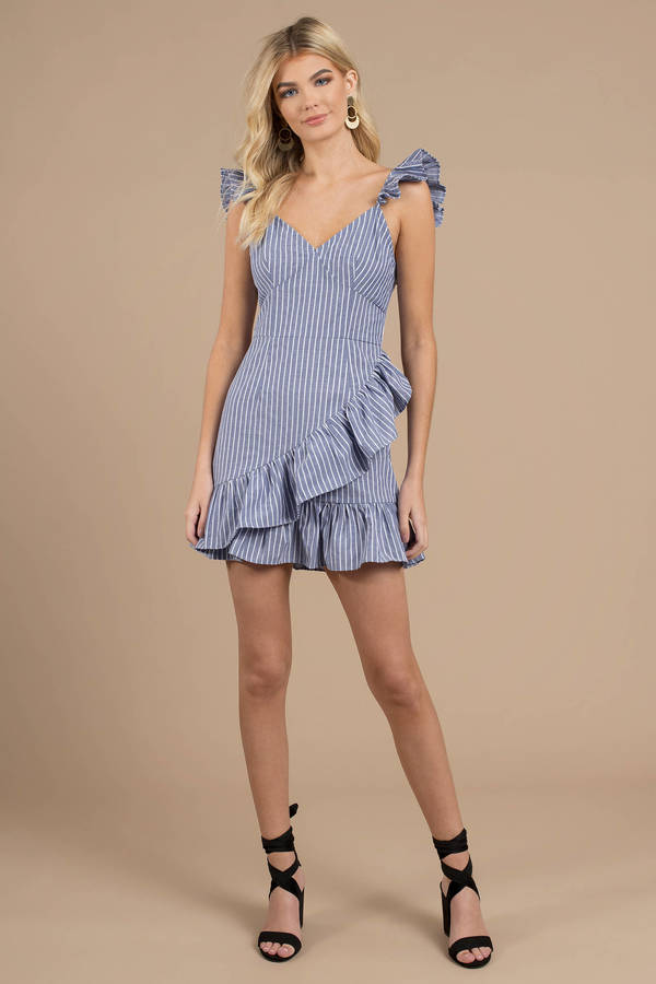 3cb0c770bd2 ... The Fifth Label The Fifth Label Parcel Blue Multi Stripe Ruffle Trim  Dress
