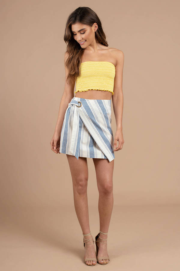 135f79c953ef Blue Free People Skirt - Wrap Striped Skirt - Blue And White Mini ...