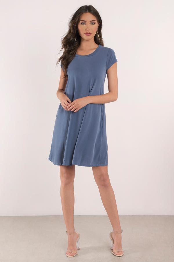 4d6e1ce76067e4 Cute Blue Dress - Short Sleeve Dress - Scoop Neck Dress -  15