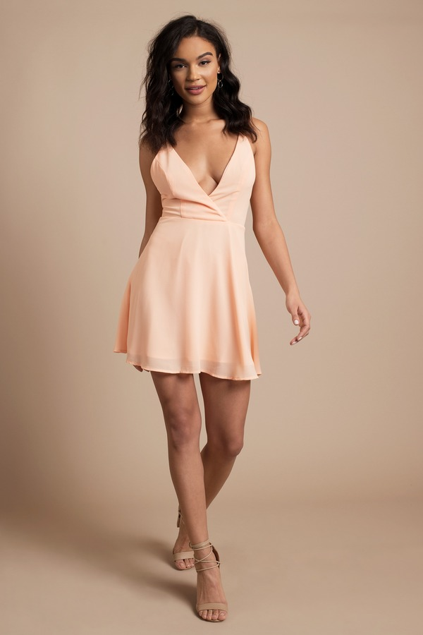 Blush Skater Dress - Strappy Back Dress - Blush Dress - Skater Dress ... 3ce720137