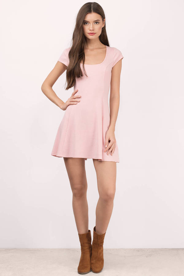 d9a1ba6db7 Blush Dress - Short Sleeve Dress - Pink Flare Dress - Skater Dress ...