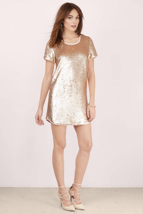 Cute Blush Shift Dress - Pink Dress - Sequin Dress - $16.00