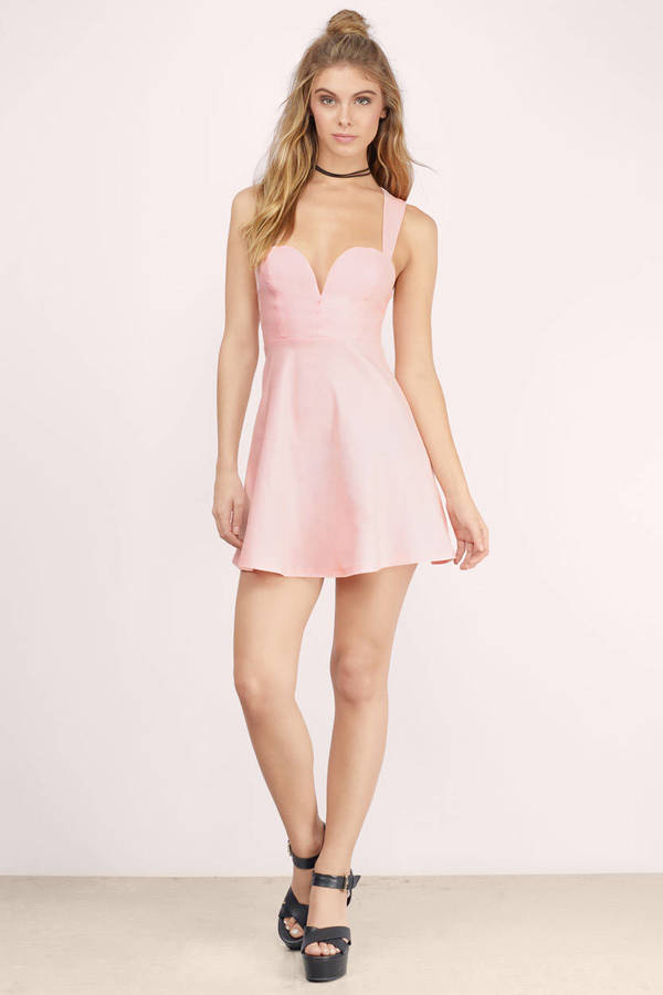 Pink Skater Dress - Back Criss Cross Dress - Pink Date ...