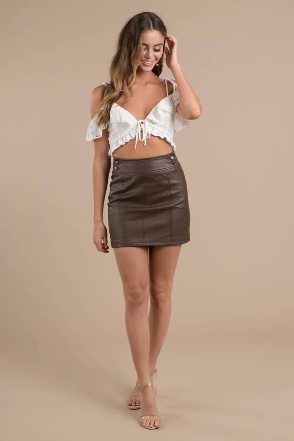0932b8661 ... Free People Free People Retro Brown Bodycon Mini Skirt