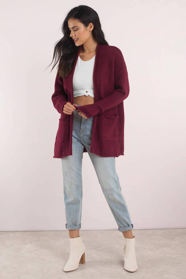 13b137bafd7a5 Cute Burgundy Cardigan - Long Sleeve - Open Front Cardigan - $30 ...
