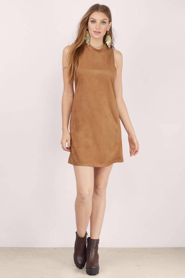 6edf833d585 Cute Camel Shift Dress - Cut Out Dress - Brown Dress - Shift Dress ...