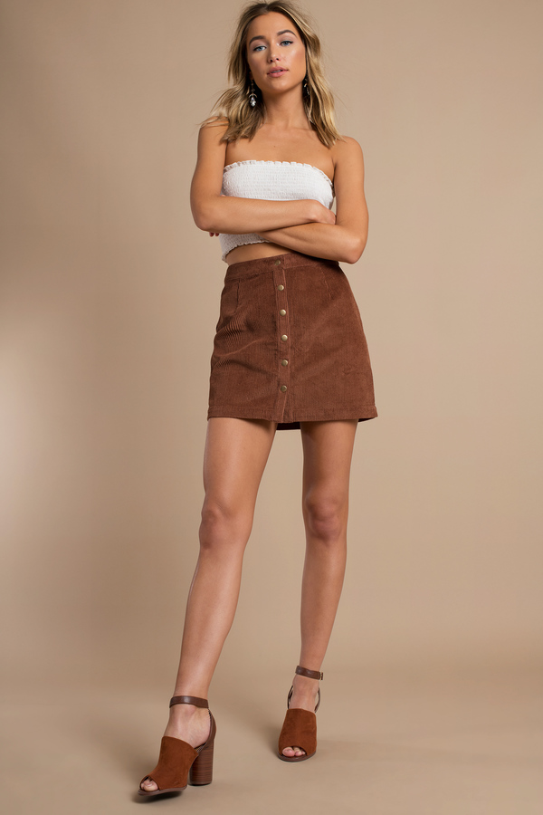 Cute Camel Skirt - Brown Skirt - Corduroy Skirt - $46.00