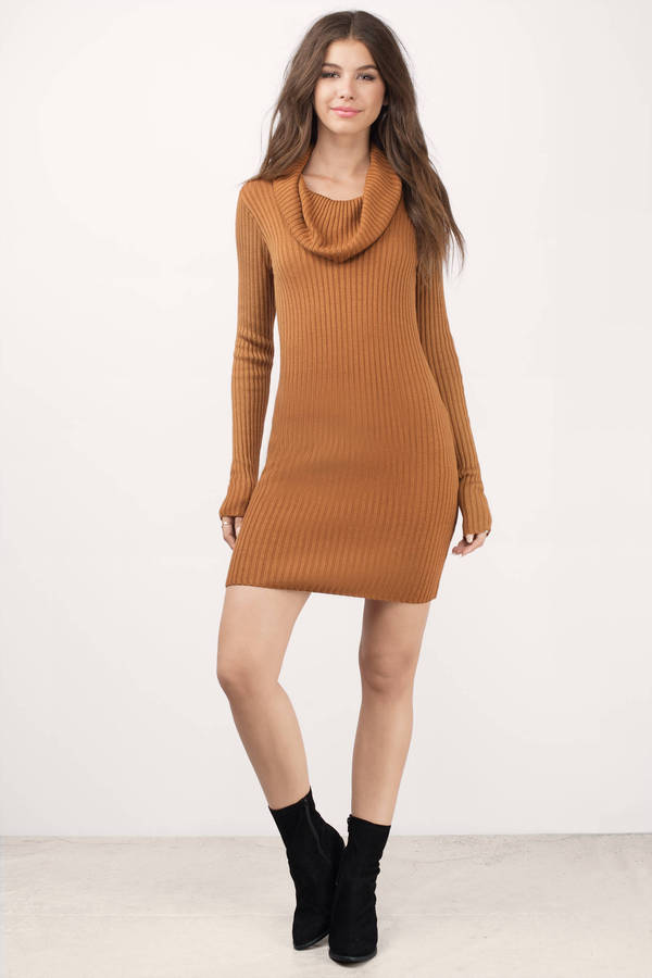 Armani Exchange Bodycon Sweater Dress Body Hugging Camel Color By Excellent