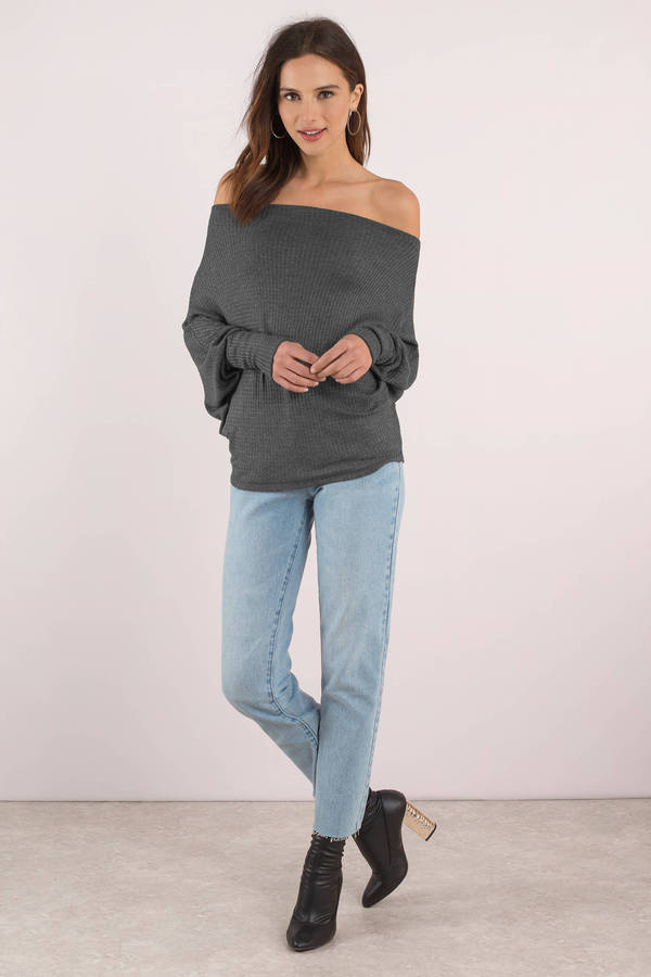 678b93e4442567 Grey Top - Off Shoulder Top - Long Sleeve Grey Top - Waffle Knit ...