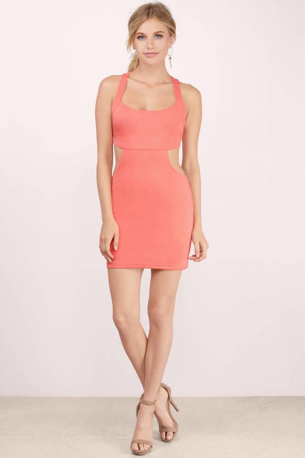 e81a8b662b865 Sexy Coral Dress - Cut Out Dress - Red Coral Dress - Bodycon Dress ...