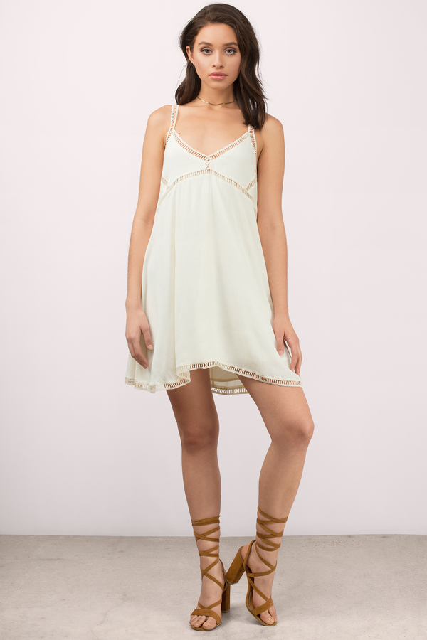 b33637ba6c8 Cream Dress - Ladder Trim Dress - Long Babydoll Dress - Shift Dress ...