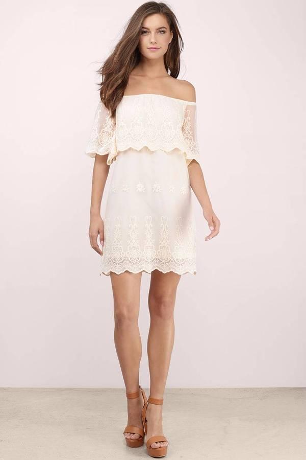 aaf4b5fb9858 White Shift Dress - Lace Overlay Dress - Elegant White Dress - £31 ...