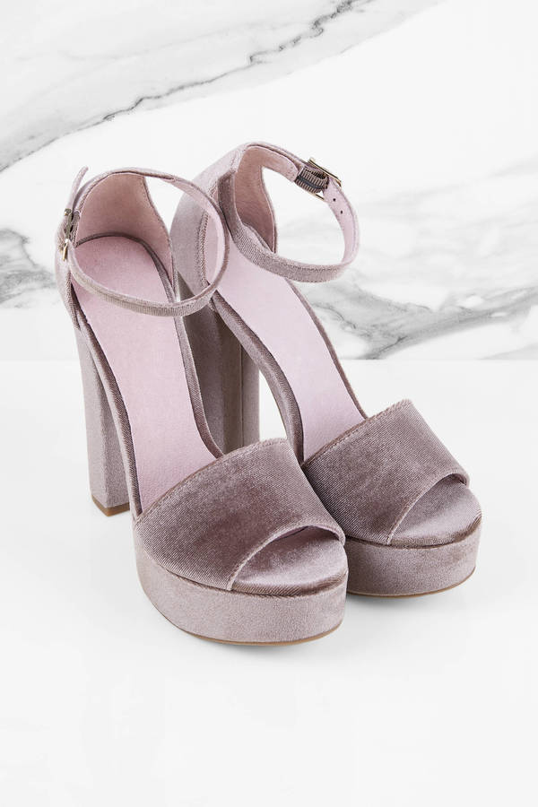 Dark Nude Heels - Nude Heels - Peep Toe Heels - $80.00