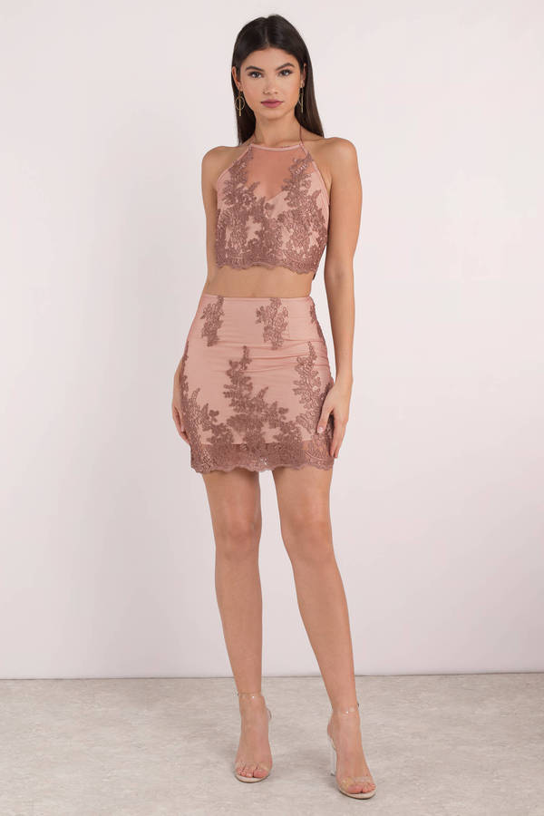 9ab391a10979 Pink Skirt - Lace Skirt - Pink Sheer Bodycon Skirt -  15