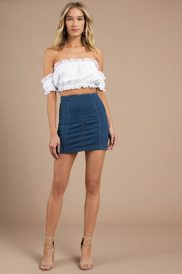 5000931a25 Blue Free People Skirt - Tight Denim Skirt - Blue Dark Wash Mini ...