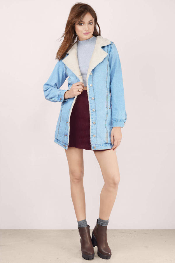Denim Coat - Blue Coat - Collared Coat - Blue Denim Coat - $37.00