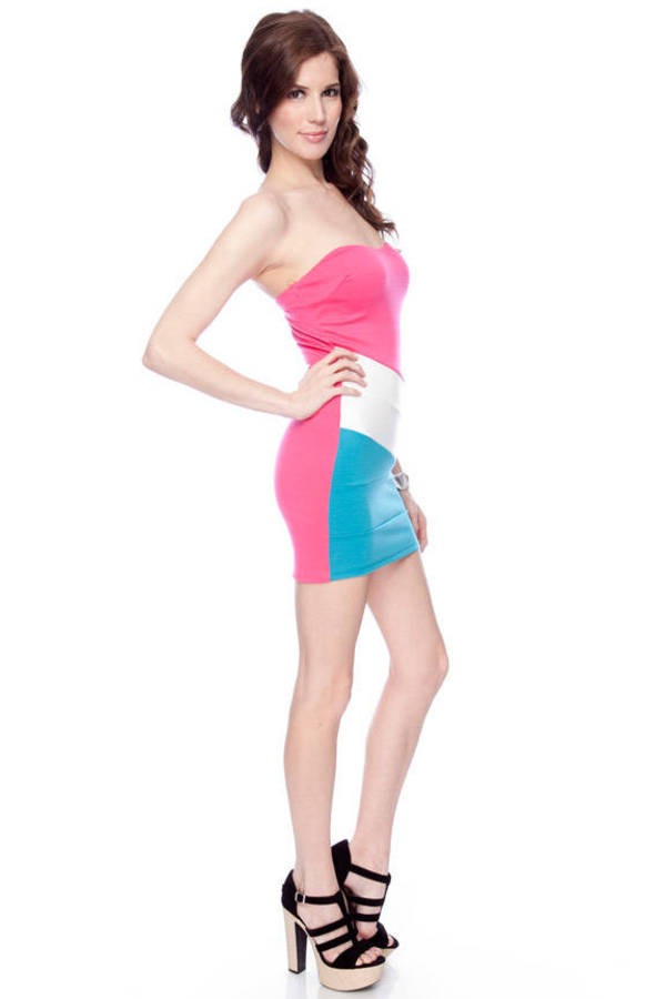 Tilted Color Block Strapless Dress