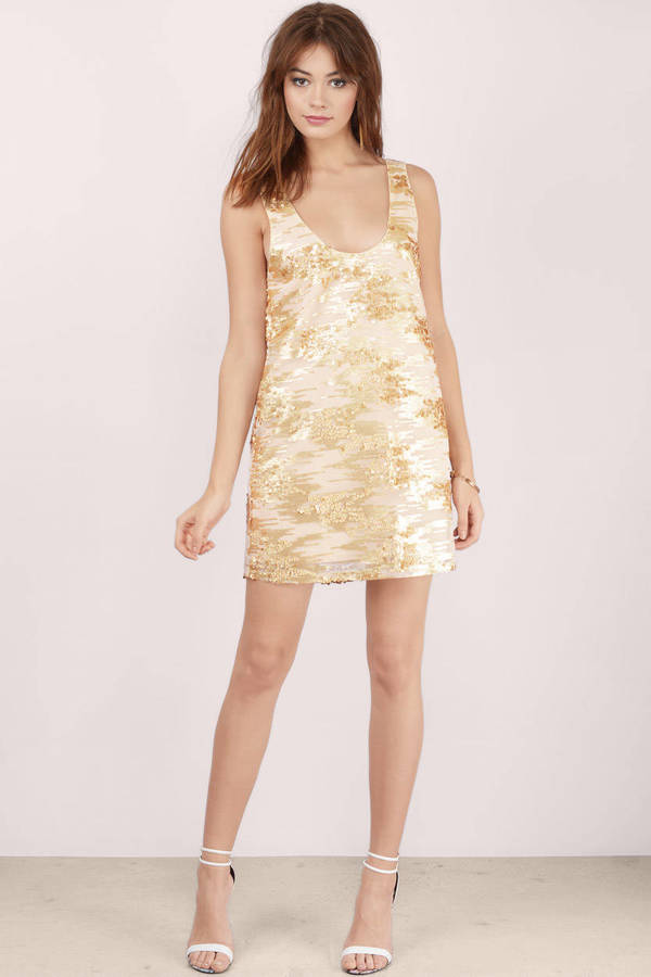 4b9d8a5c5493 Gold Dress - Sequin Dress - Metallic Gold Dress - Shift Dress - AU ...