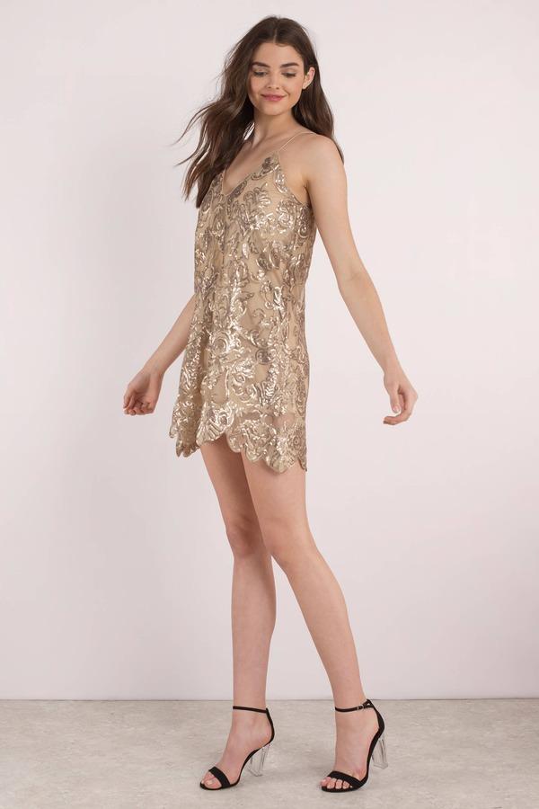 Short Gold Fashion Dresses