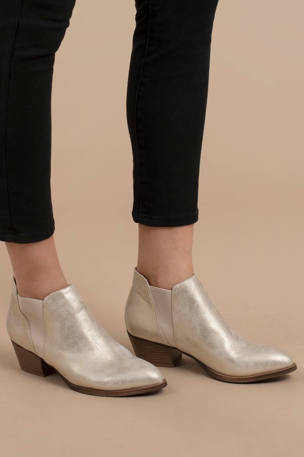 Gold Chinese Laundry Boots - Heeled Chelsea Boots - Gold Ankle Boots ... afd4b41f0