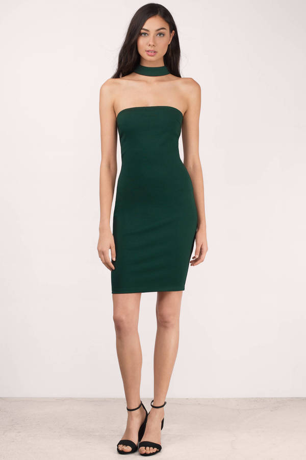 Trendy Green Dress - Racerback Dress - Hunter Color Dress - Midi ...