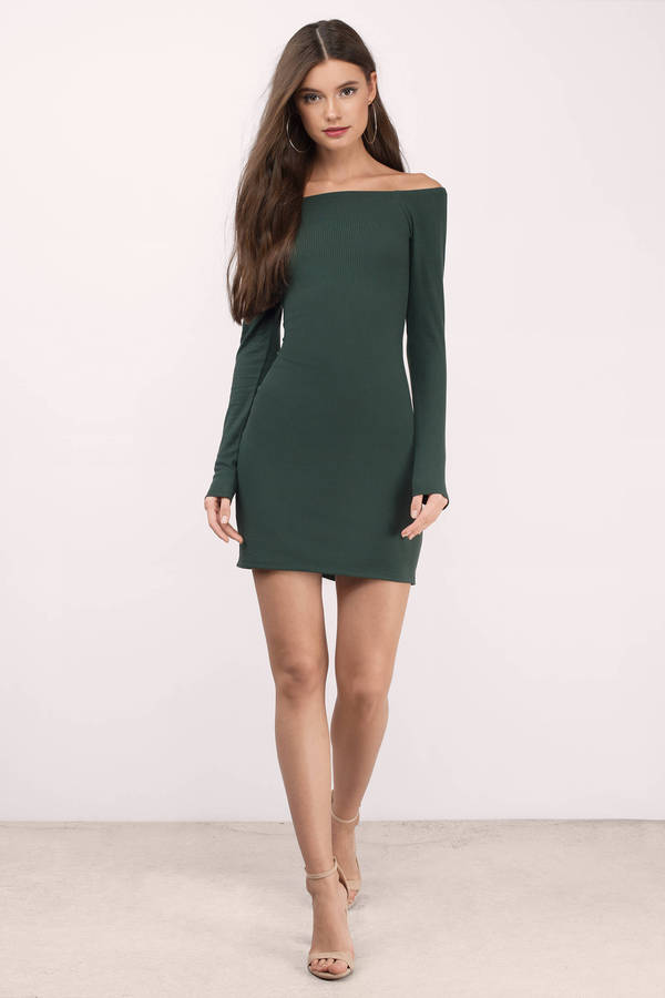 676f51576475 Cute Green Bodycon Dress - Off Shoulder Dress - Bodycon Dress -  10 ...
