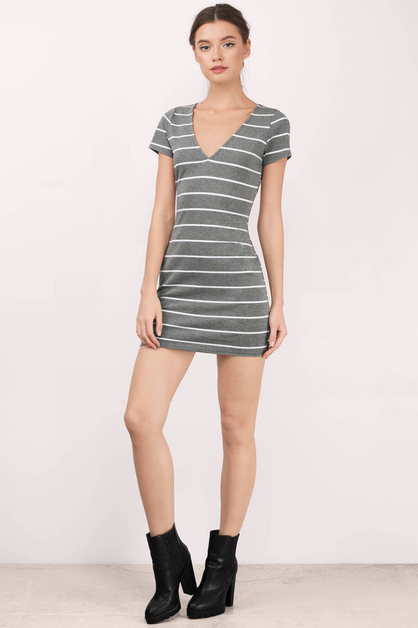 Cute Grey And White Dress - Deep V Dress - Grey Dress - Bodycon ... aeee0d31a