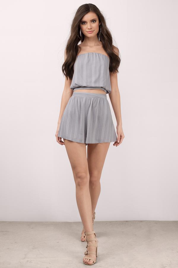 Cute Grey Shorts - High Waisted Shorts - Grey And White Shorts ...