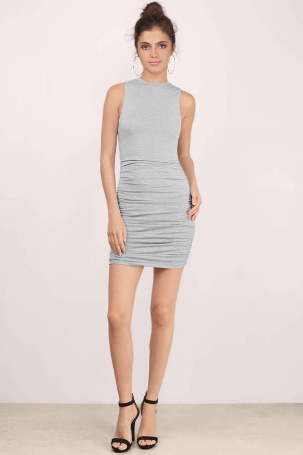aa69056c142 Grey Bodycon Dress - Grey Dress - Draped Dress - Grey Ruched Dress ...