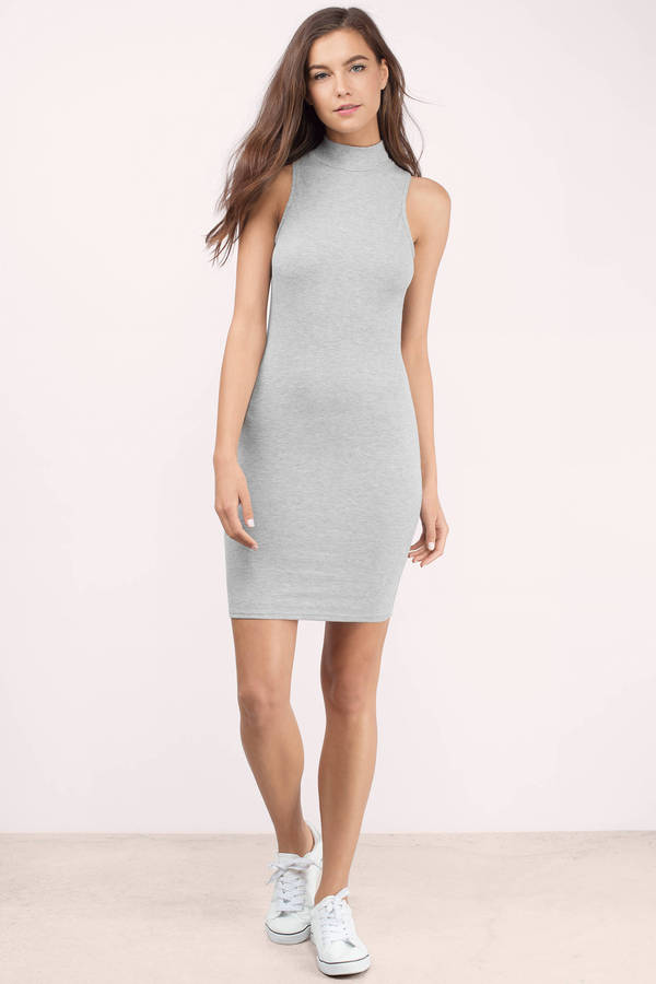 04e1a269f1394 Grey Bodycon Dress - Grey Dress - Sleeveless Dress - Grey Bodycon ...