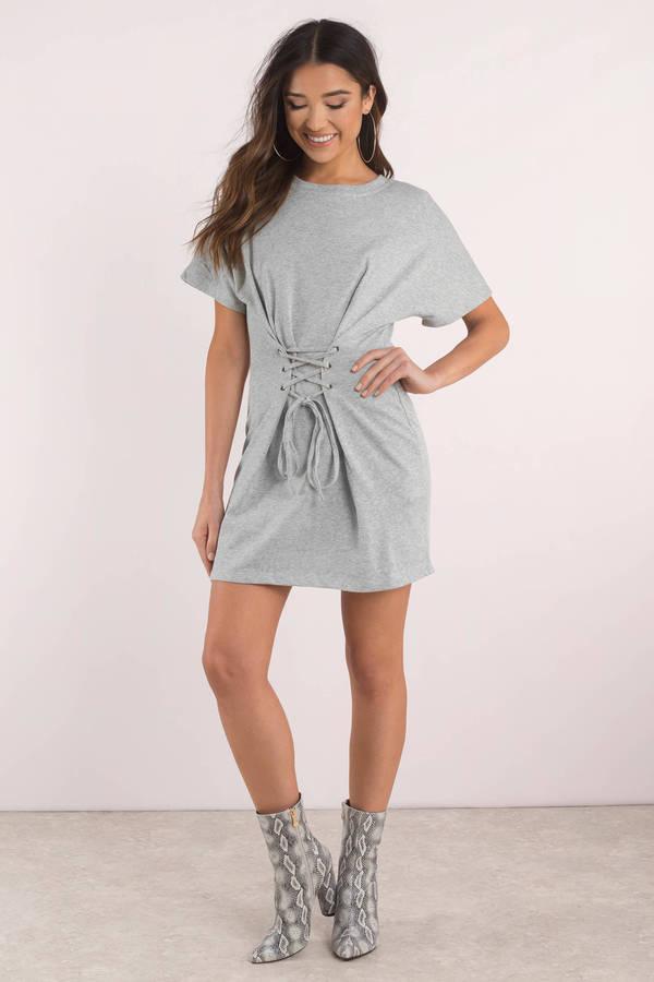 f0b13d4a9a Chic Grey Casual Dress - Corset Dress - Grey T Shirt Dress - $48 ...