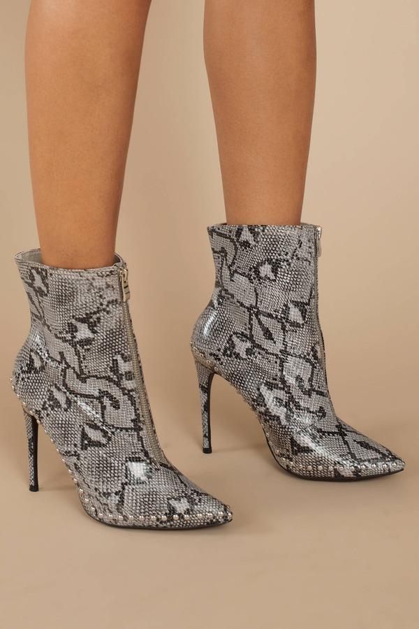5fb3e9144403 Grey Heeled Booties - Studded Booties - Grey Snake Print Booties ...