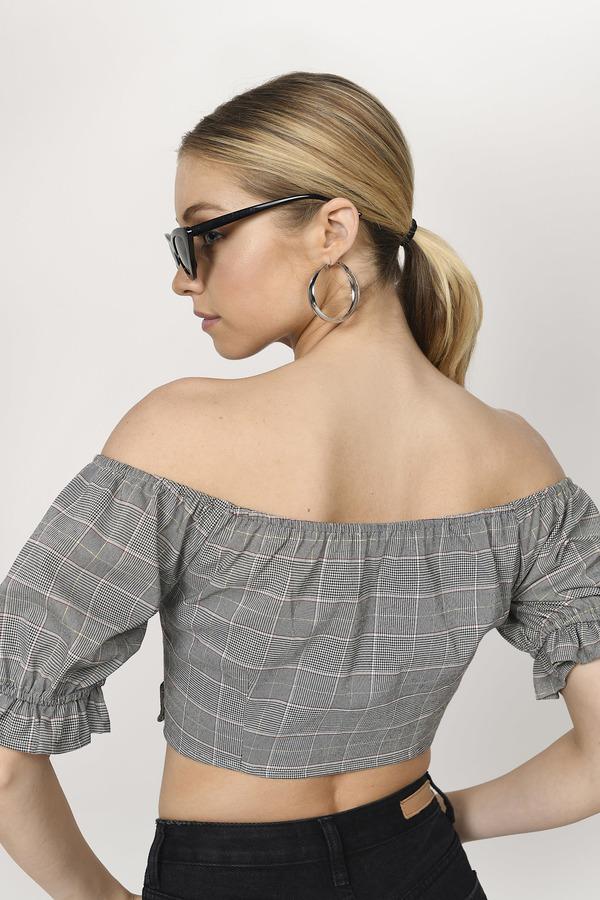 e309b633e Grey Top - Off Shoulder Top - Grey Plaid Puff Sleeve Blouse - C$ 34 ...
