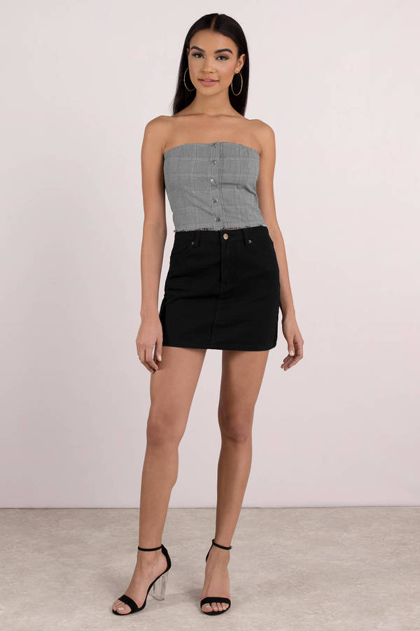 13ff5a7a7 ... Honey Punch Honey Punch No Straps Attached Grey Multi Plaid Crop Top