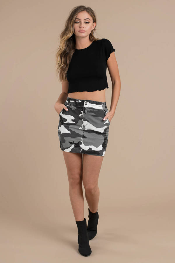 20bbce46f256a Suit It And Boot It Grey Multi Camo Skirt - $62 | Tobi US