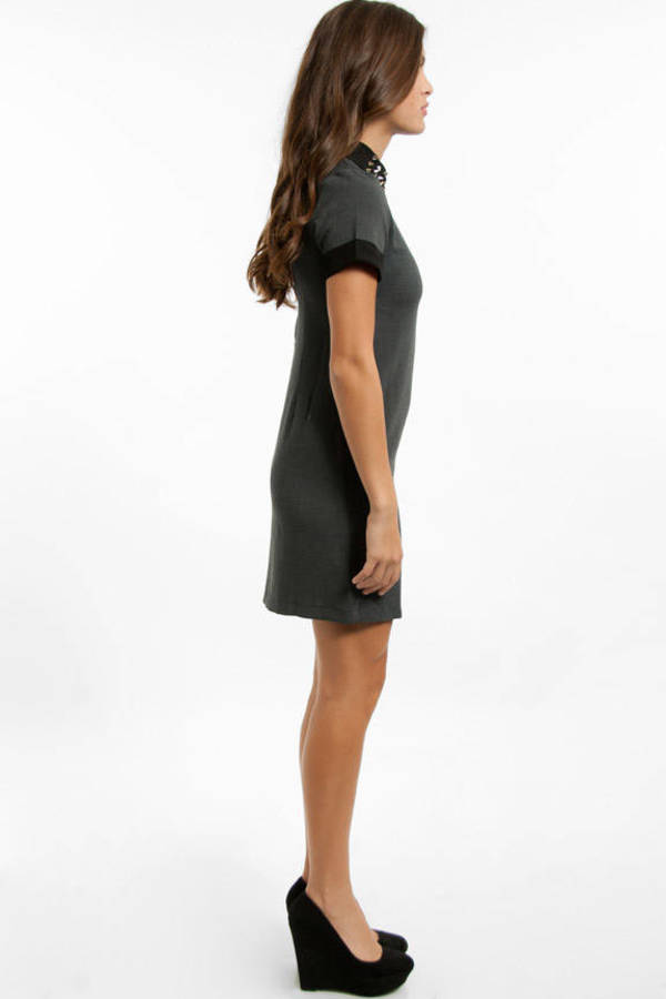 Prep School Studded Collar Dress
