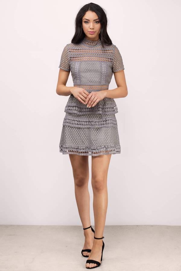Trendy Grey Day Dress - Short Sleeve Dress - $84.00