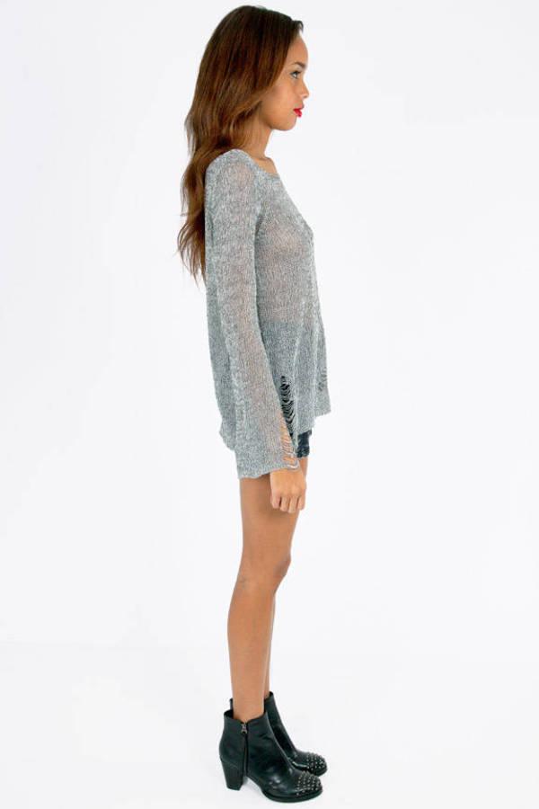 Slashed Mixed Knit Sweater