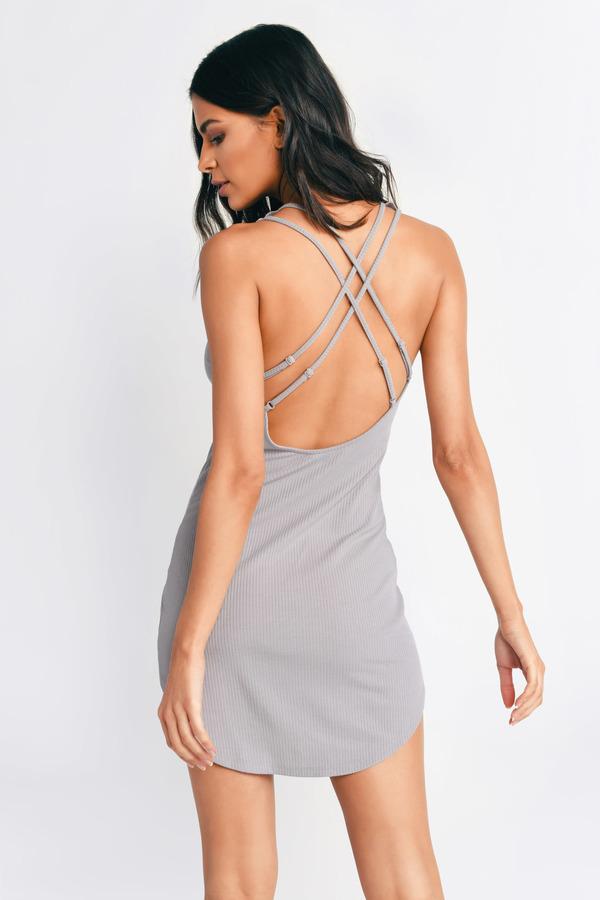 Grey Dress Scoop Neck Dress Grey Stretch Dress