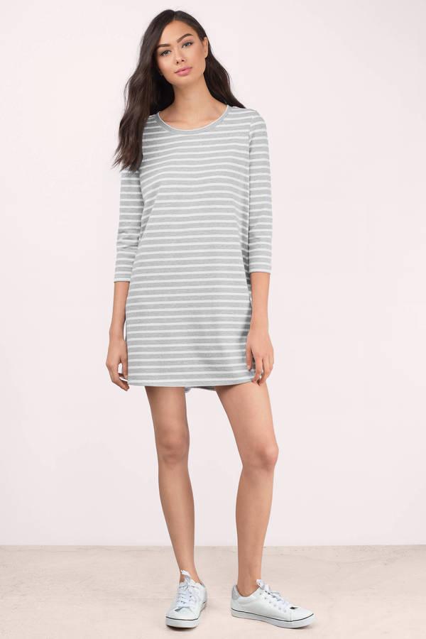 e2bbc47376ec2 Cute Grey & White Day Dress - Grey Dress - Striped Dress - Day Dress ...