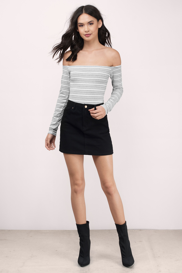 Off Shoulder Bodysuit - Heathered Grey And White Bodysuit -  10 ... 0569be260