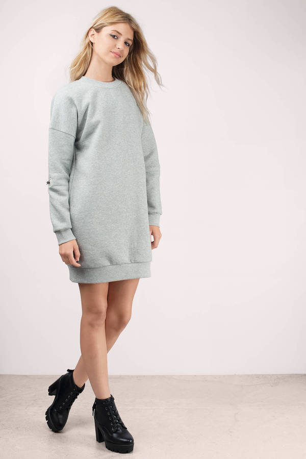 Heather Grey Dress - Sweater Dress - Cozy Sweatshirt - Day Dress ...