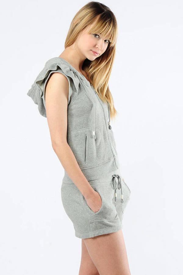 Grey Hoodie - Ruffle Shoulder Hoodie - Sleeveless Grey Hoodie - Zip ...
