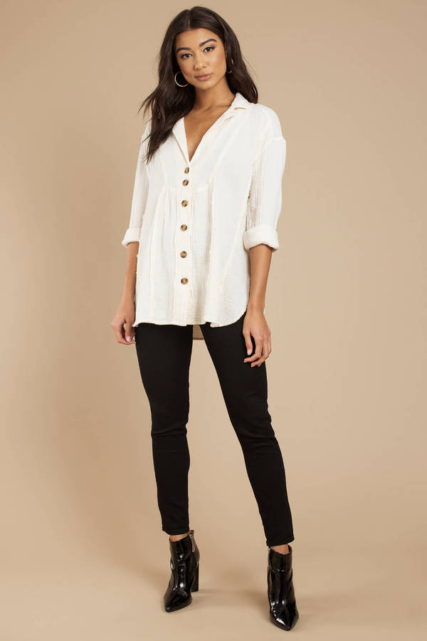 a3718ba95458 White Free People Blouse - Button Down Blouse - White Beach Cover Up ...