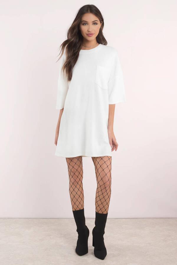 cec646583fc29 White Shift Dress - Comfortable Dress - Plain White T Shirt Dress ...