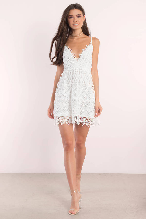 95be704e693 Ivory Skater Dress - Lace Dress - Skater Dress - Pretty White Dress ...