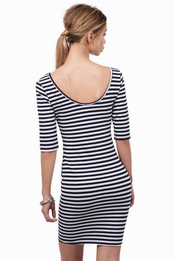 Switching Lines Bodycon Dress