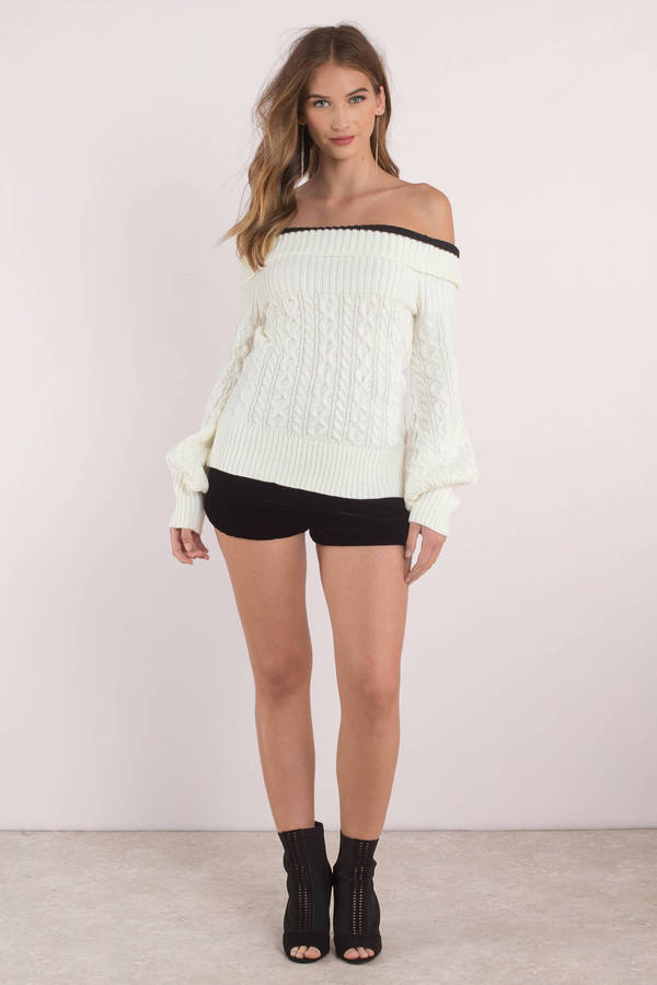 White Sweater Cable Knit Cardigan White Off Shoulder Sweater