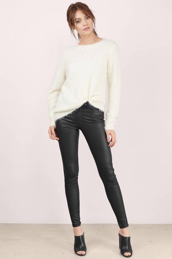 07a3eaca32 White Sweater - Eyelash Knit Sweater - Fuzzy Sweater - £12